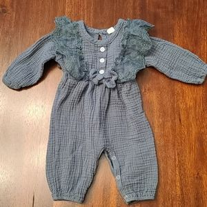 Baby girl evergreen lace ruffle sleeve jumpsuit 3M